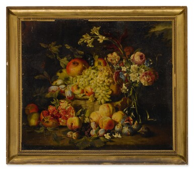 View 2. Thumbnail of Lot 649. Still life of flowers and fruits, including pomegranates, peaches, and grapes.