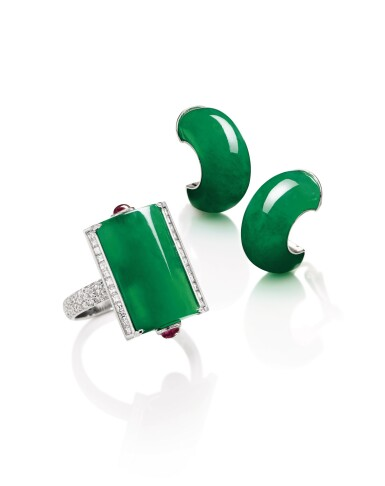 View 3. Thumbnail of Lot 1721. Jadeite, Diamond and Ruby Ring; and Pair of Jadeite Ear Clips | 天然翡翠 配 鑽石 及 紅寶石 戒指; 及 天然翡翠耳環一對.