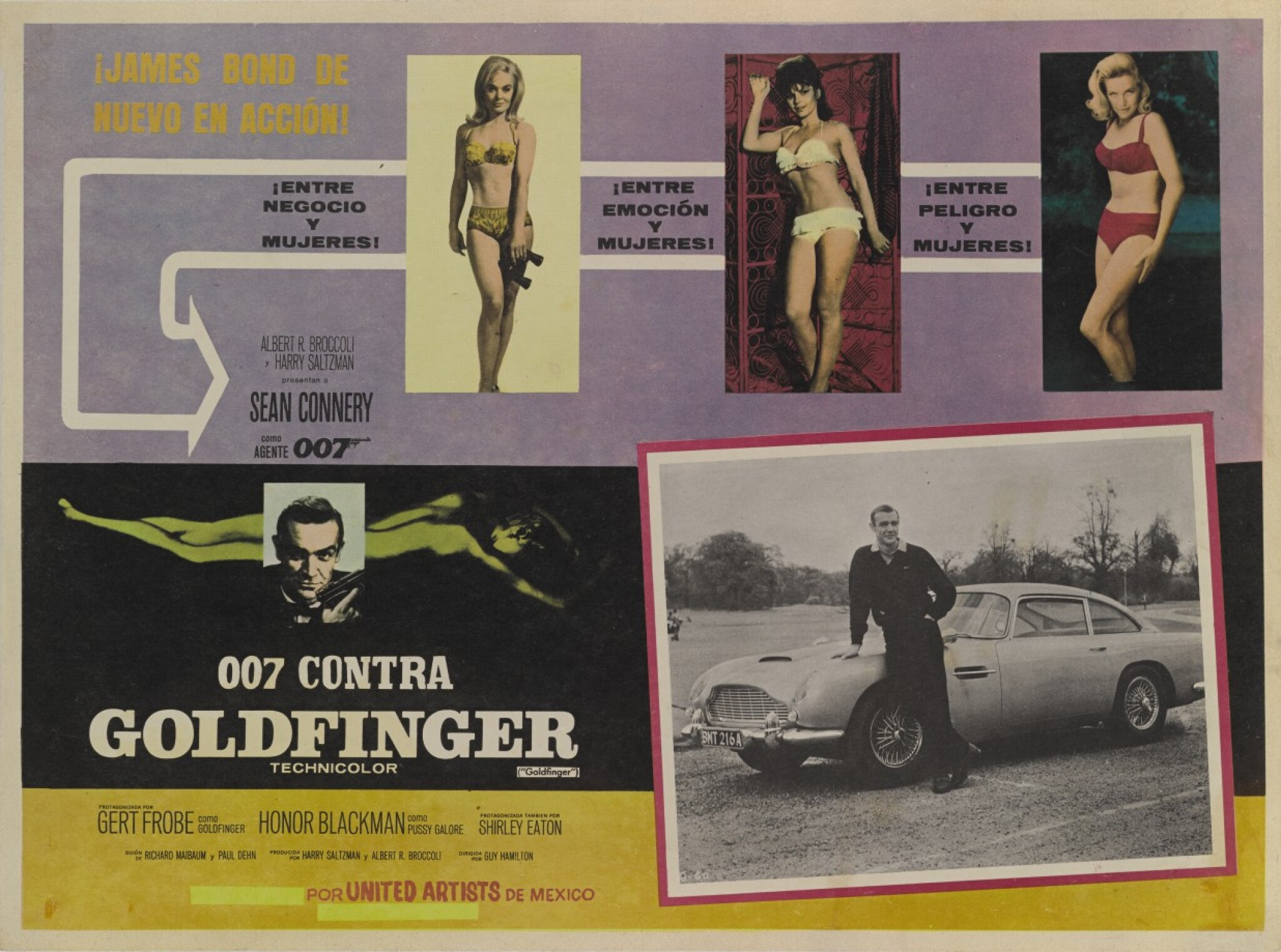 View full screen - View 1 of Lot 44. GOLDFINGER / 007 CONTRA GOLDFINGER (1964) LOBBY CARD,  MEXICAN, 1970s RE-RELEASE.