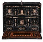 A SOUTH GERMAN SILVER MOUNTED CHERRY AND TIGERWOOD INLAID EBONY TABLE CABINET CIRCA 1620, AUGSBURG, CIRCLE OF MATTHIAS WALBAUM