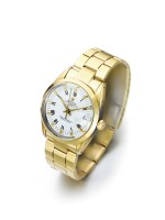 ROLEX | DATE REF 15505  A GOLD PLATED STAINLESS STEEL AUTOMATIC CENTER SECONDS WRISTWATCH WITH DATE AND BRACELET CIRCA 1985