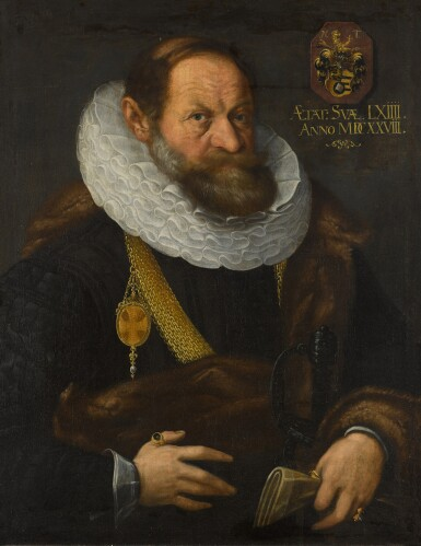 View 1. Thumbnail of Lot 44. Portrait of Nikolaus Tritt von Wilderen (1564 - between 1628/35), half-length, wearing black with a fur mantle, ruff and gold chain, holding his gloves.