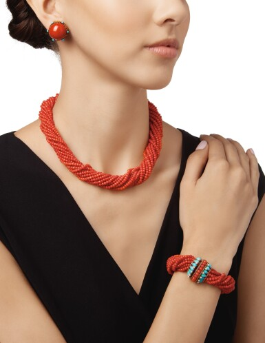 View 2. Thumbnail of Lot 233.  CORAL, TURQUOISE AND SEED PEARL SUITE OF JEWELS.