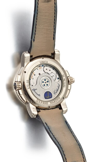 View 3. Thumbnail of Lot 1110. ULYSSE NARDIN | SONATA, REFERENCE 670-88 A WHITE GOLD DUAL TIME ZONE WRISTWATCH WITH DATE, ALARM AND COUNTDOWN INDICATION, CIRCA 2007.
