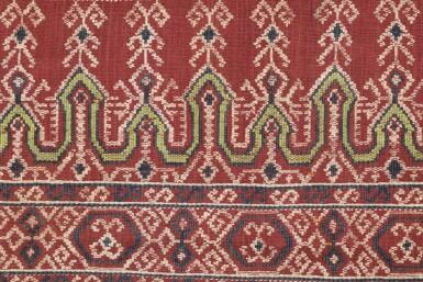 View 1. Thumbnail of Lot 50. Tissu cérémoniel pua, Iban, Borneo, Indonesia, début du 20e siècle | Sacred ceremonial cloth pua, Iban, Borneo, Indonesia, early 20th century.