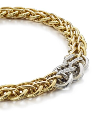 View 2. Thumbnail of Lot 153. GOLD AND DIAMOND NECKLACE.