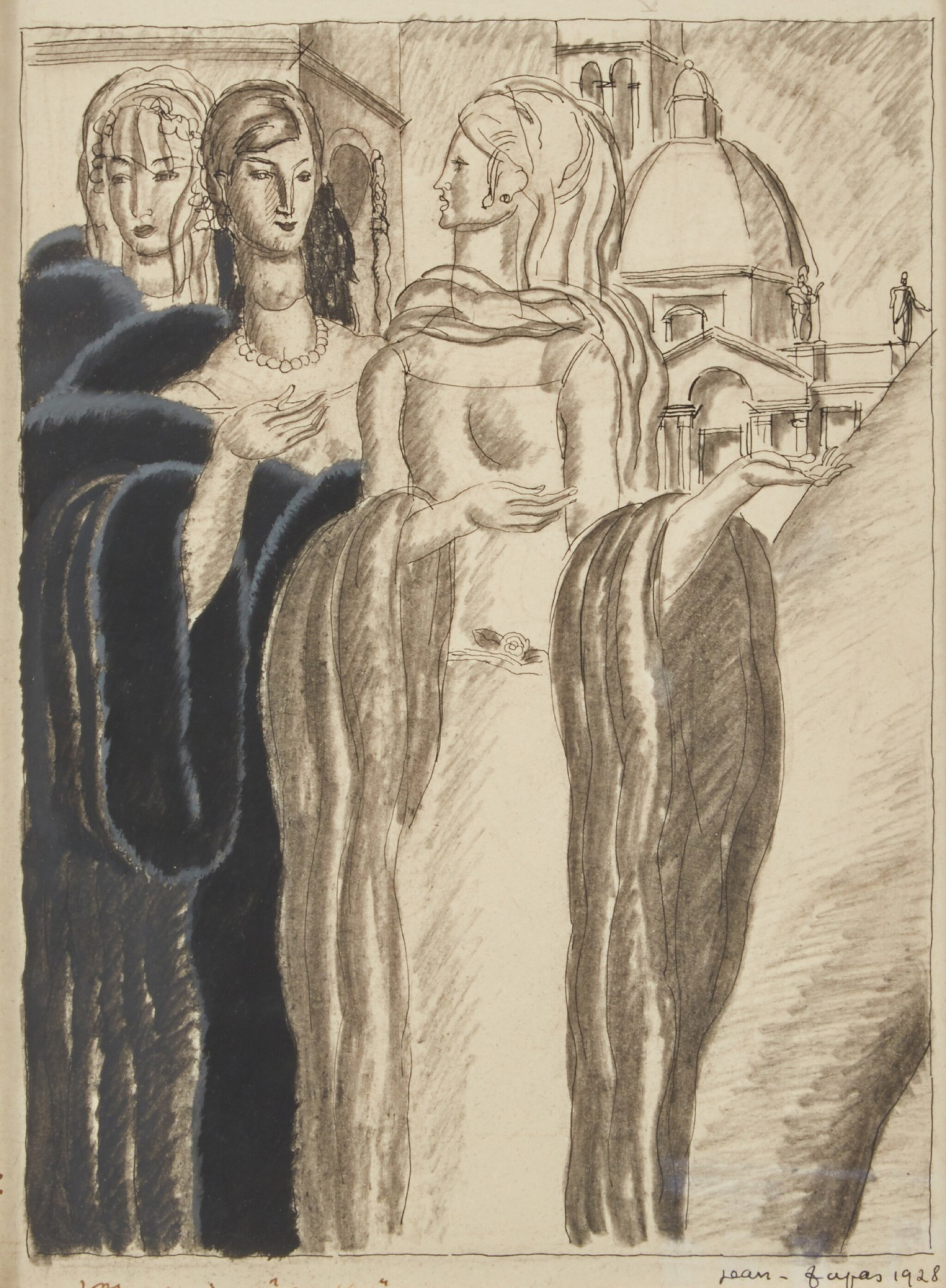 View full screen - View 1 of Lot 68. Drawing of Three Women.
