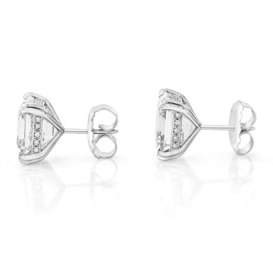 View 2. Thumbnail of Lot 19. Pair of Diamond Earstuds.
