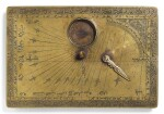 A SAFAVID BRASS HORIZONTAL DIAL AND QIBLA INDICATOR, SIGNED BY MUHAMMAD MAHDI AL-YAZDI, PERSIA, SECOND HALF 17TH CENTURY