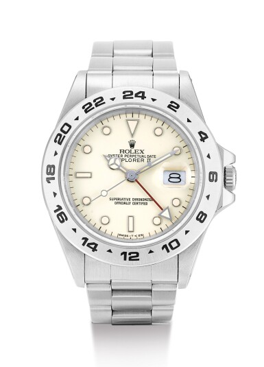 ROLEX | EXPLORER II, REFERENCE 16550, A STAINLESS STEEL WRISTWATCH WITH 24 HOUR INDICATION, DATE, CREAM RAIL DIAL AND BRACELET, CIRCA 1987