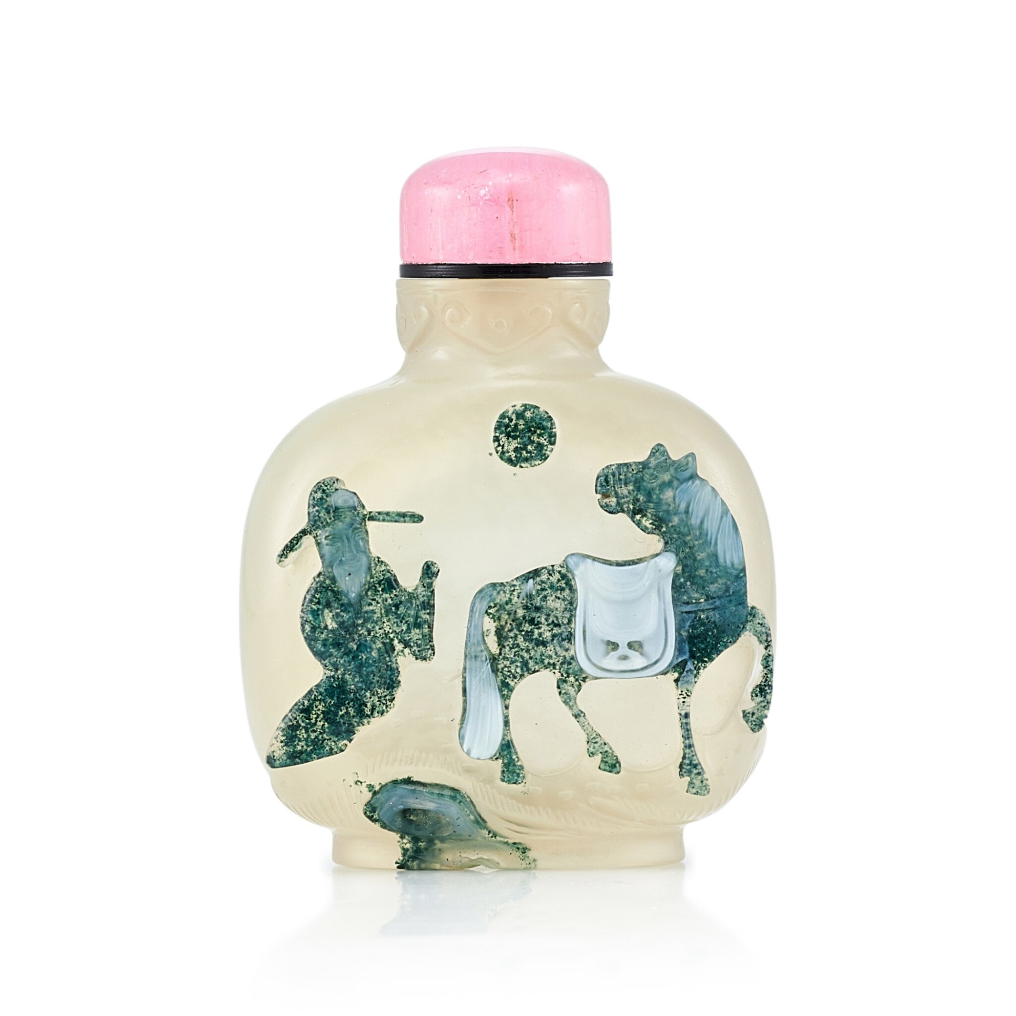 View full screen - View 1 of Lot 3038. An Agate 'Horse' Snuff Bottle Qing Dynasty, 18th - 19th Century | 清十八至十九世紀 瑪瑙巧雕人物駿馬圖鼻煙壺.