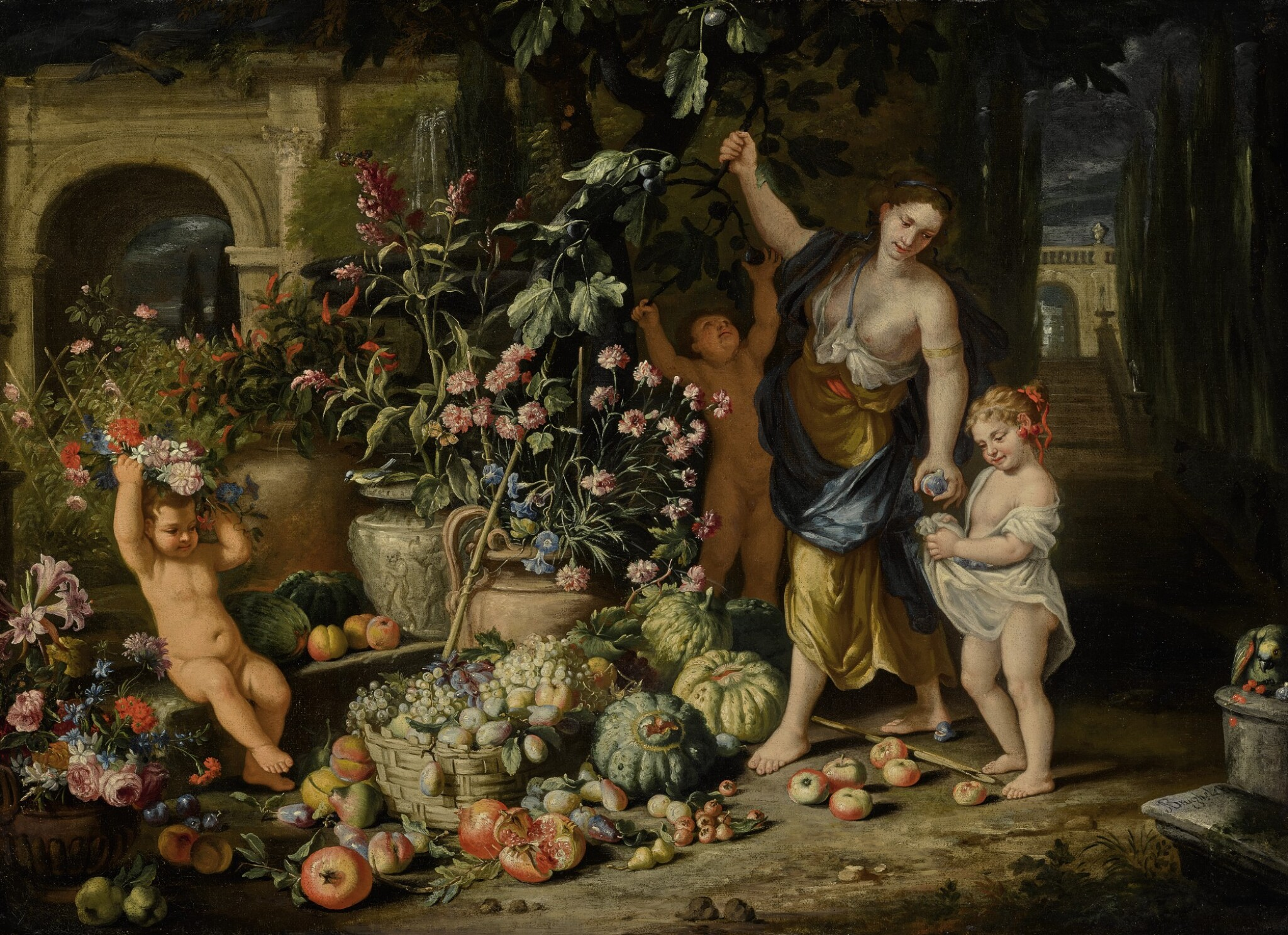 ABRAHAM BRUEGHEL AND NICOLA VACCARO | A YOUNG WOMAN PICKING FIGS WITH THREE CHILDREN IN A TERRACED GARDEN, WITH URNS OF CARNATIONS, MORNING GLORY, AND OTHER FLOWERS, AND BASKET OF GRAPES AND OTHER FRUITS NEARBY