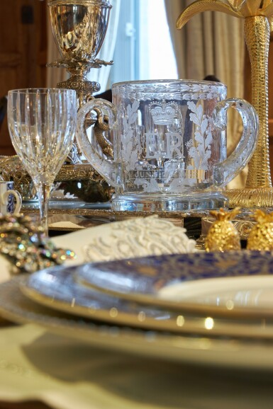 View 20. Thumbnail of Lot 44. An early 19th C Mahogany Dining Table by Gillow & Co. with a set of 12 carved Dining Chairs in the Chippendale Style, and a Thomas Goode 'Stewart' bone china part dinner and dessert service, and an original antique glass from the Thomas Goode archive, various dates.
