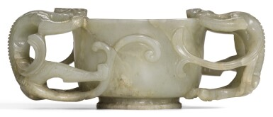 A CELADON JADE 'CHILONG' CUP MING DYNASTY, 17TH CENTURY | 明十七世紀 青玉螭龍耳盃