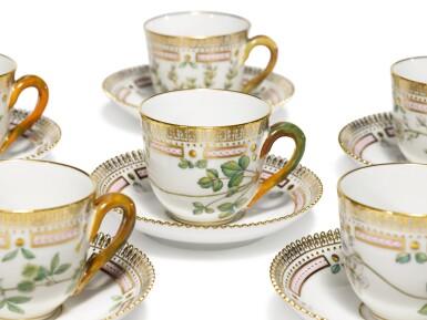 View 3. Thumbnail of Lot 6. Six Royal Copenhagen 'Flora Danica' Demi-Tasse Cups and Saucers, Modern.