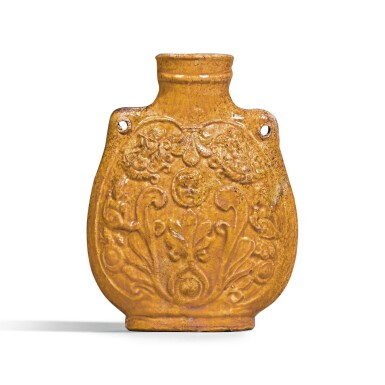 View 1. Thumbnail of Lot 208. A RARE AMBER-GLAZED 'MUSICIANS' FLASK NORTHERN QI DYNASTY | 北齊 黃釉樂舞圖扁壺.