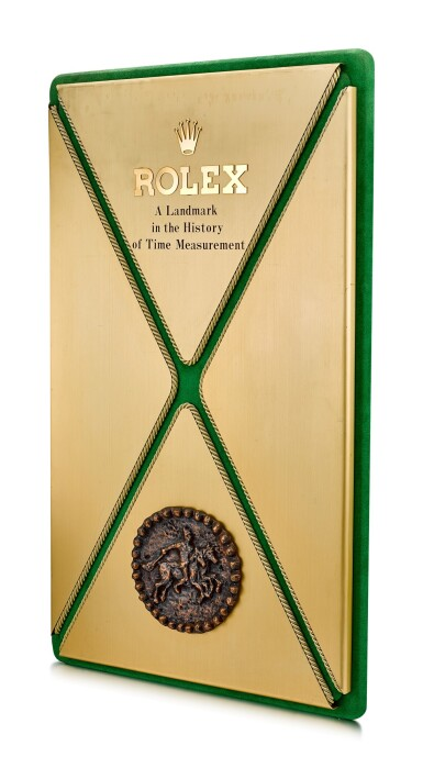 View 2. Thumbnail of Lot 8092. ROLEX   A GILT BRASS AND LEATHER DISPLAY, CIRCA 1970.