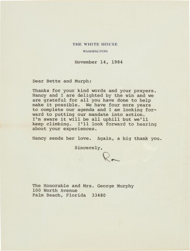View 4. Thumbnail of Lot 99. Ronald Reagan | Series of 37 letters to Senator George Murphy, and related material, 1968-90.
