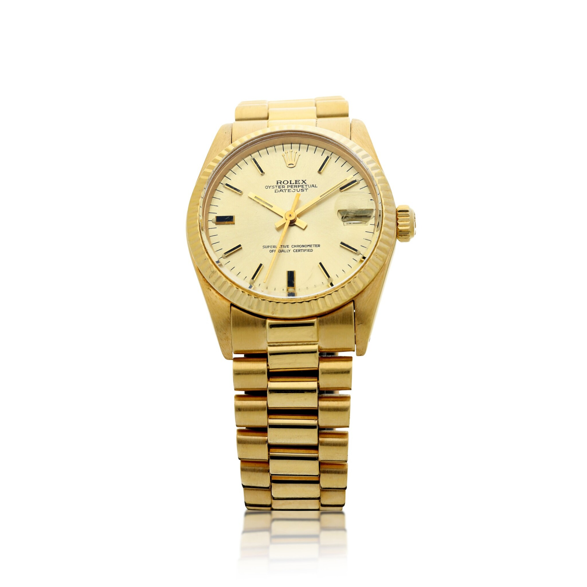 View full screen - View 1 of Lot 81. REFERENCE 6827 DATEJUST A YELLOW GOLD AUTOMATIC WRISTWATCH WITH DATE AND BRACELET, CIRCA 1979.