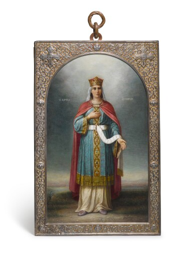 View 1. Thumbnail of Lot 218. A LARGE SILVER-GILT PRESENTATION ICON OF THE MARTYR SAINT ALEXANDRA OF ROME, PAVEL OVCHINNIKOV, MOSCOW, 1909.