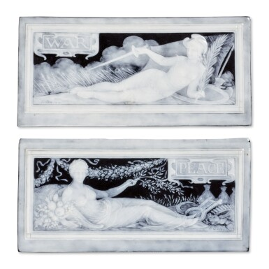 A PAIR OF MINTONS PÂTE-SUR-PÂTE BLACK-GROUND RECTANGULAR PLAQUES, 'WAR' AND 'PEACE' 1897