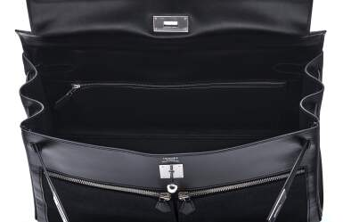 View 6. Thumbnail of Lot 332. Black Kelly Lakis 40cm in Toile and Box Leather with Palladium Hardware, 2008.