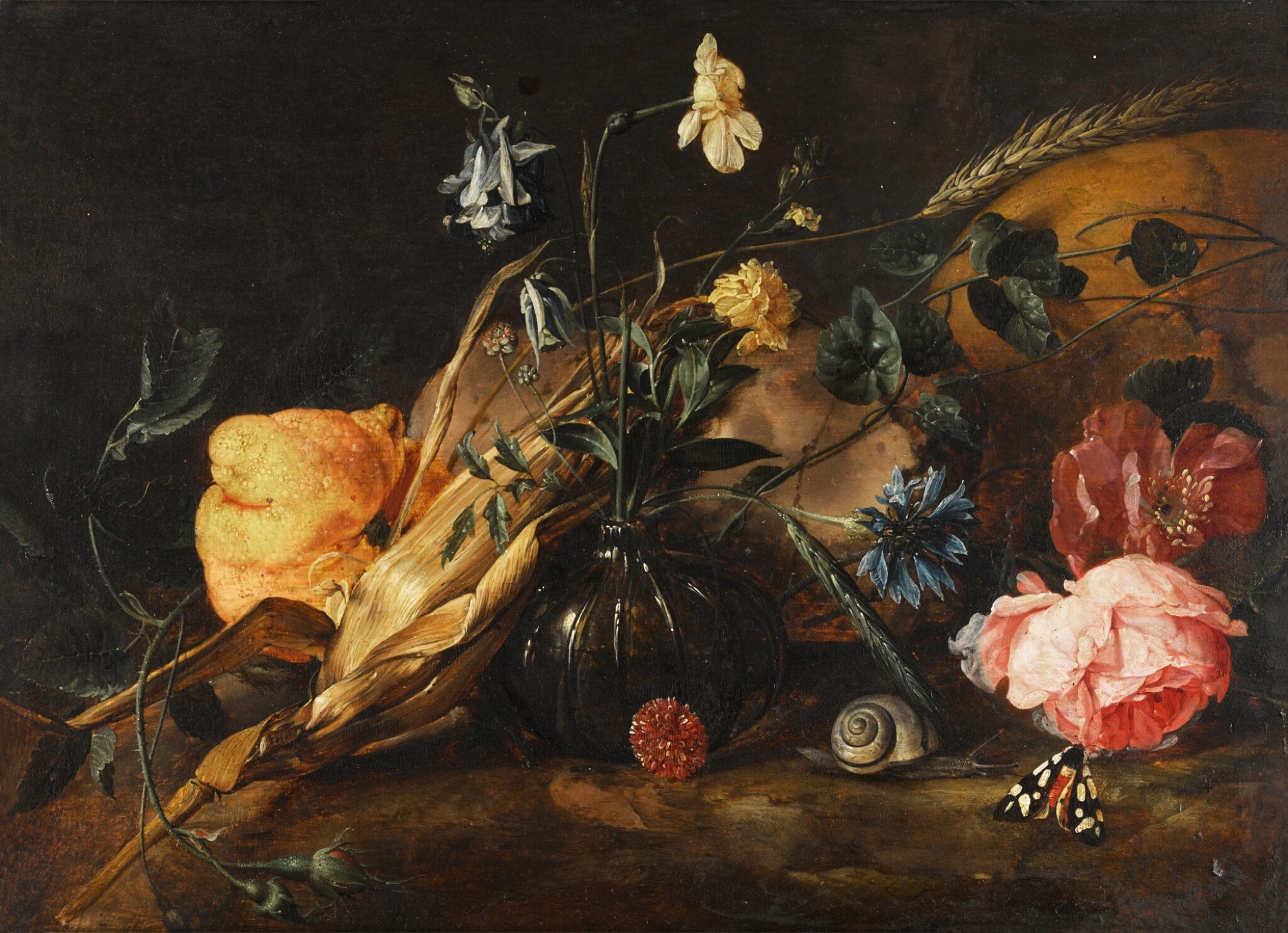 View full screen - View 1 of Lot 37. Still life with flowers in a glass vase, a lemon, an ear of corn, with a snail and butterflies beside a skull | 《靜物:玻璃瓶花與檸檬、玉米穗、蝸牛和骷髏旁的蝴蝶》.