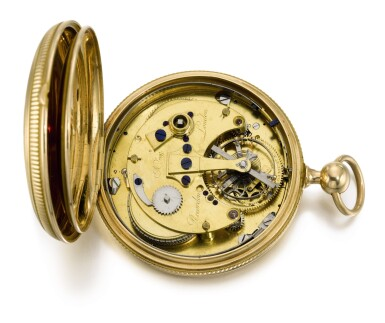 View 6. Thumbnail of Lot 28. BREGUET | RETAILED BY RECORDON, LONDON: A HIGHLY IMPORTANT GOLD FOUR MINUTE TOURBILLON WATCH OF ROYAL PROVENANCE WITH ROBIN ESCAPEMENT, THERMOMETER AND STOP SLIDE FOR TIMING THE SECONDS  1808, NO. 1297.