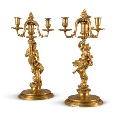 A PAIR OF LOUIS XIV GILT BRONZE THREE-LIGHT CANDELABRA ATTRIBUTED TO CORNEILLE VAN CLEVE, CIRCA 1715