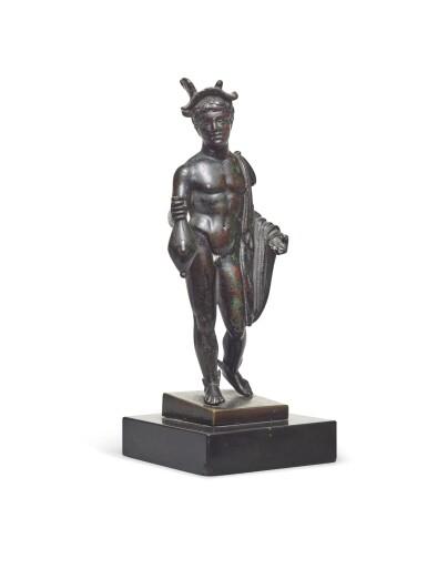 View 2. Thumbnail of Lot 124. A Roman Bronze Figure of Hermes, circa 2nd Century A.D..