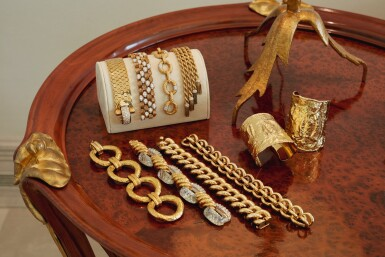 View 3. Thumbnail of Lot 238. Pair of Gold 'Manchette' Cuff-Bracelets.
