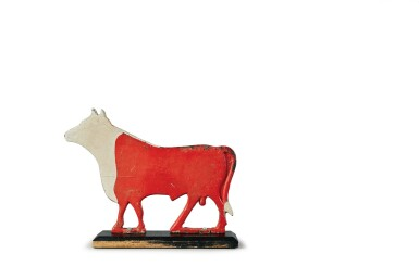 View 2. Thumbnail of Lot 1427. CAST-IRON AND RED AND WHITE PAINTED BULL WINDMILL WEIGHT, POSSIBLY FAIRBURY WINDMILL COMPANY, FAIRBURY, NEBRASKA, LATE 19TH TO EARLY 20TH CENTURY.