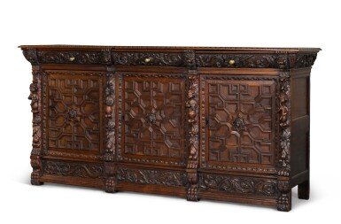 View 2. Thumbnail of Lot 9. A Flemish Renaissance style carved oak low cabinet (ribbank), probably Antwerp.