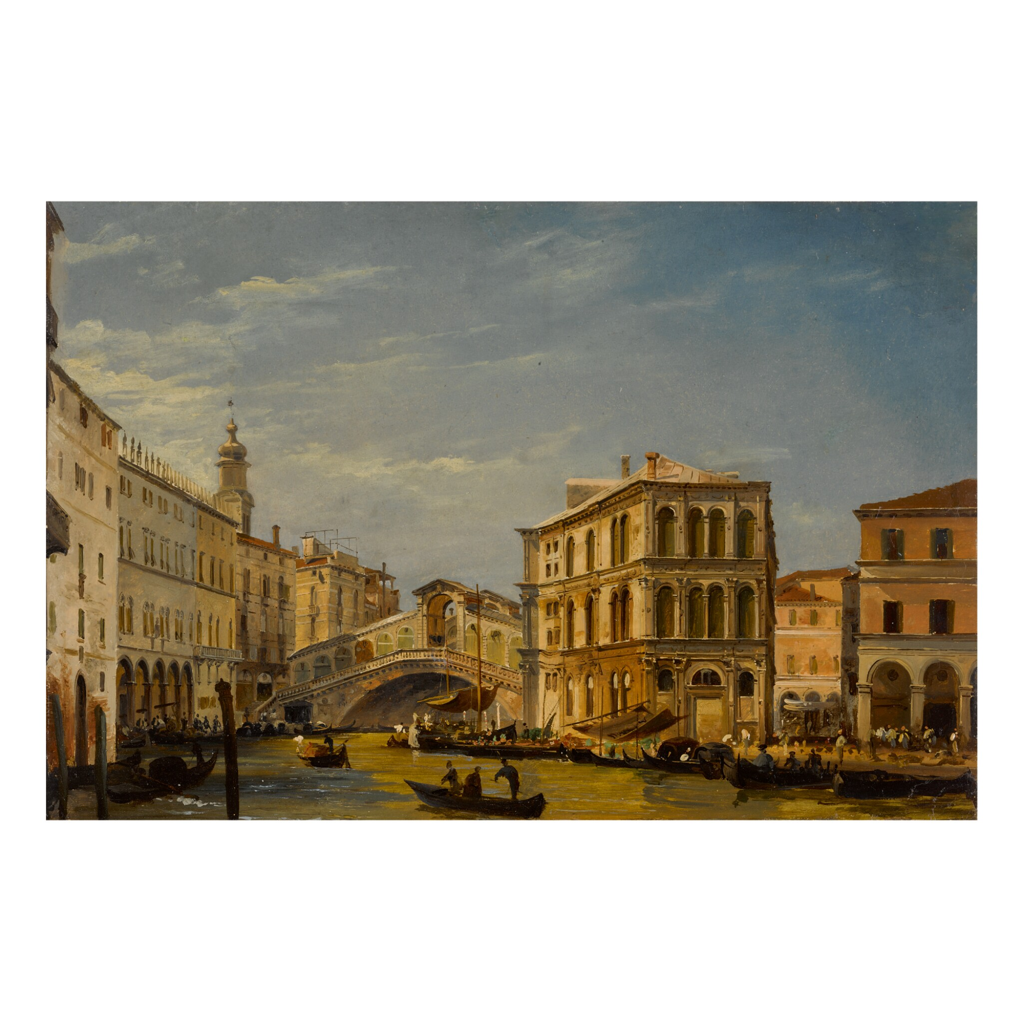 View full screen - View 1 of Lot 120. IPPOLITO CAFFI | VENICE, A VIEW OF THE GRAND CANAL WITH THE RIALTO BRIDGE AND THE PALAZZO DEI CAMERLENGHI.