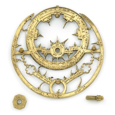 View 7. Thumbnail of Lot 66. A gilt-brass astrolabe signed by Ahmad ibn Abu 'Abdallah al-Qurtubi al-Yamani, North-East Spain, Tudela, dated 737 AH/1336-37 AD.