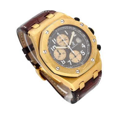 """View 3. Thumbnail of Lot 38. Royal Oak Offshore Chronograph """"Arnold Schwarzenegger"""" reference 26007BA.OO.D088CR.01 A 18k yellow gold automatic chronograph wristwatch with date, circa 2004."""
