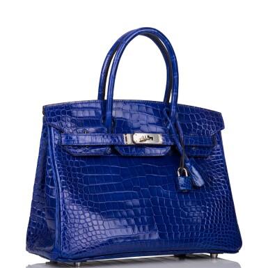 View 2. Thumbnail of Lot 7. Hermès Bleu Electrique Birkin 30cm of Shiny Porosus Crocodile with Palladium Hardware.