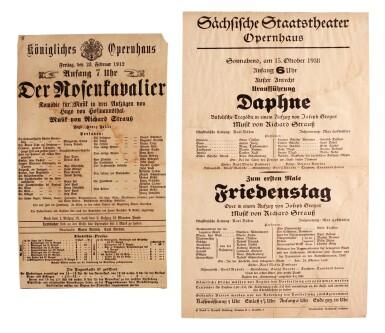 """R. Strauss. Two playbills for his operas, """"Der Rosenkavalier"""", """"Daphne"""" and """"Friedenstag"""", 1912 & 1938"""