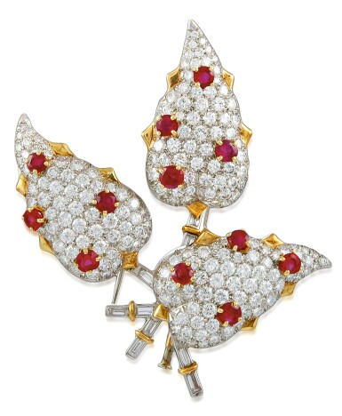 View 1. Thumbnail of Lot 30. SCHLUMBERGER FOR TIFFANY & CO.   RUBY AND DIAMOND CLIP-BROOCH.