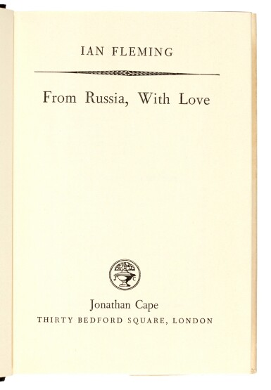 View 6. Thumbnail of Lot 24. FLEMING | From Russia, with Love, 1957, presentation copy inscribed to the author's wife.