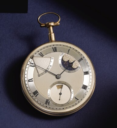 View 1. Thumbnail of Lot 28. BREGUET  [ 寶璣]    AN EXCEPTIONAL AND VERY RARE GOLD SELF-WINDING QUARTER REPEATING WATCH WITH MOON PHASES, DAY OF THE WEEK AND POWER RESERVE  NO. 60, 'PÉRPETUELLE' SOLD TO MONSIEUR JOHNSTON ON 5 JANUARY 1796 FOR 3,120 FRANCS  [ 極罕有黃金自動上鏈二問懷錶備月相、星期及動力儲存顯示,編號60,1796年1月5日以3,120法郎售出].