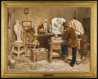 View 2. Thumbnail of Lot 42. EVERT PIETERS | The Sculptor Alphonse van Beurden in his Studio   .