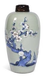 AN UNDERGLAZE BLUE AND RED CELADON-GLAZED MEIPING | QING DYNASTY, KANGXI PERIOD [TWO ITEMS]