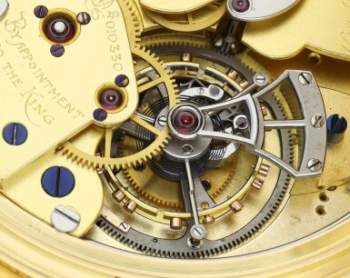 View 9. Thumbnail of Lot 85. AN IMPRESSIVE AND EXCEPTIONAL LARGE YELLOW GOLD OPEN-FACED MINUTE REPEATING SPLIT-SECOND CHRONOGRAPH WATCH WITH ONE MINUTE TOURBILLON AND 60-MINUTE REGISTER, 1931, SOLD TO J.P. MORGAN JR. IN 1933.