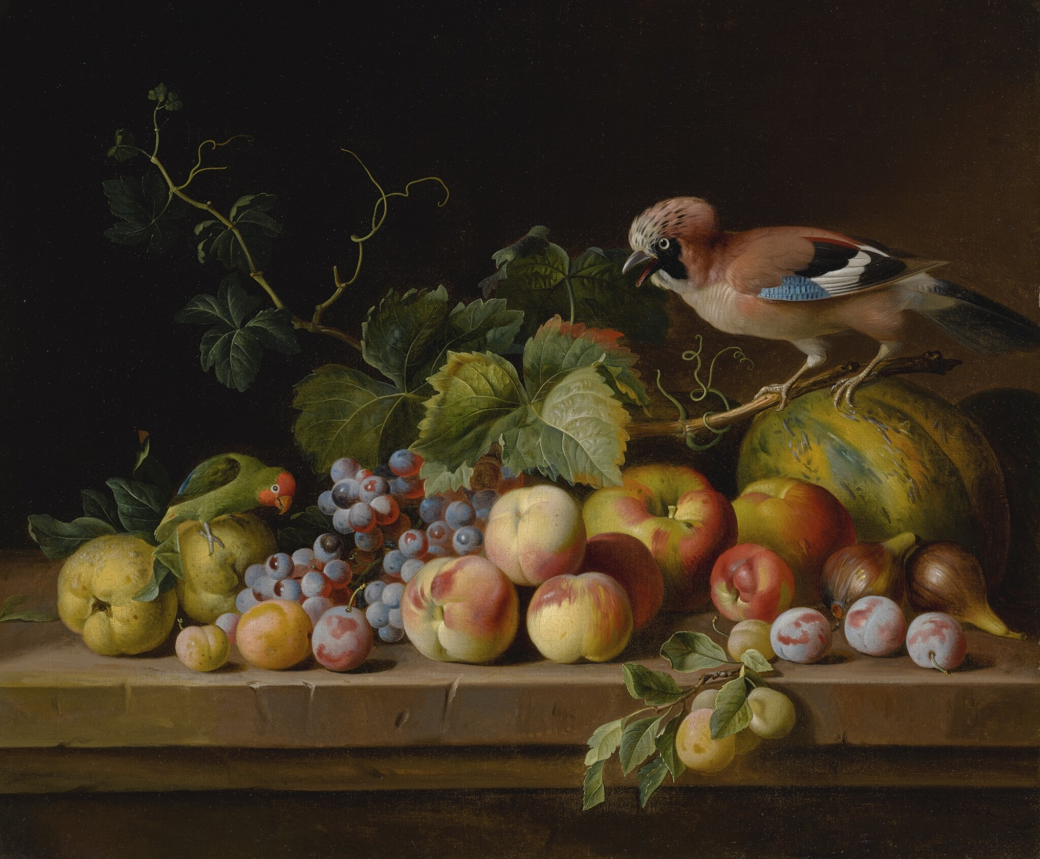 View full screen - View 1 of Lot 719. Jakob Bogdány   A STILL LIFE OF MELONS, APPLES, PEACHES, PLUMS, FIGS, GRAPES, AND VINES ON A STONE LEDGE WITH A JAY AND PARROT.