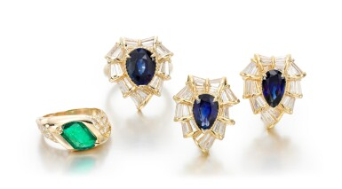 SAPPHIRE AND DIAMOND DEMI-PARURE AND AN EMERALD AND DIAMOND RING