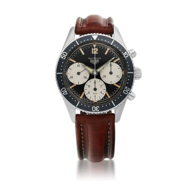 HEUER | 'BIG REGISTER' AUTAVIA, REF 2446 STAINLESS STEEL CHRONOGRAPH WRISTWATCH WITH FIRST EXECUTION DIAL CIRCA 1965