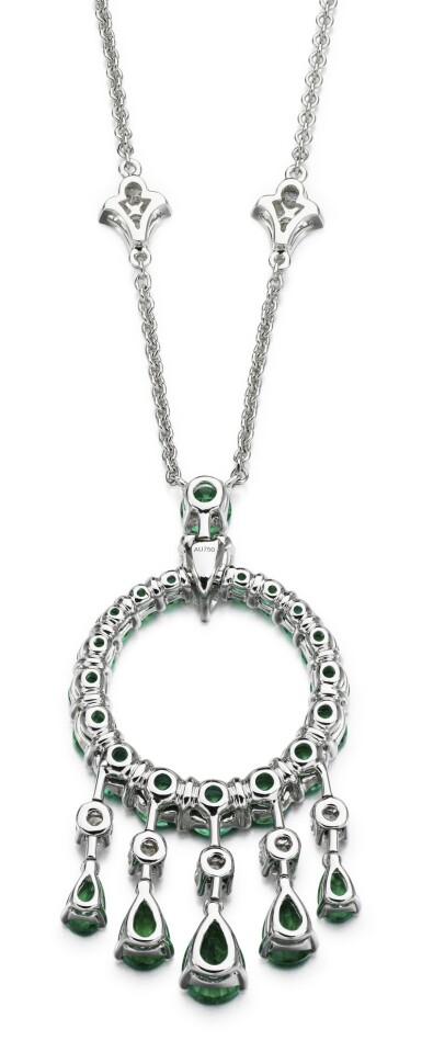 View 3. Thumbnail of Lot 298. GRAFF   EMERALD AND DIAMOND NECKLACE, 'GYPSY'.