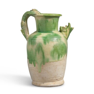 View 2. Thumbnail of Lot 235. A RARE GREEN-SPLASHED 'DRAGON' EWER, TANG DYNASTY | 唐 白釉綠彩龍首執壺.