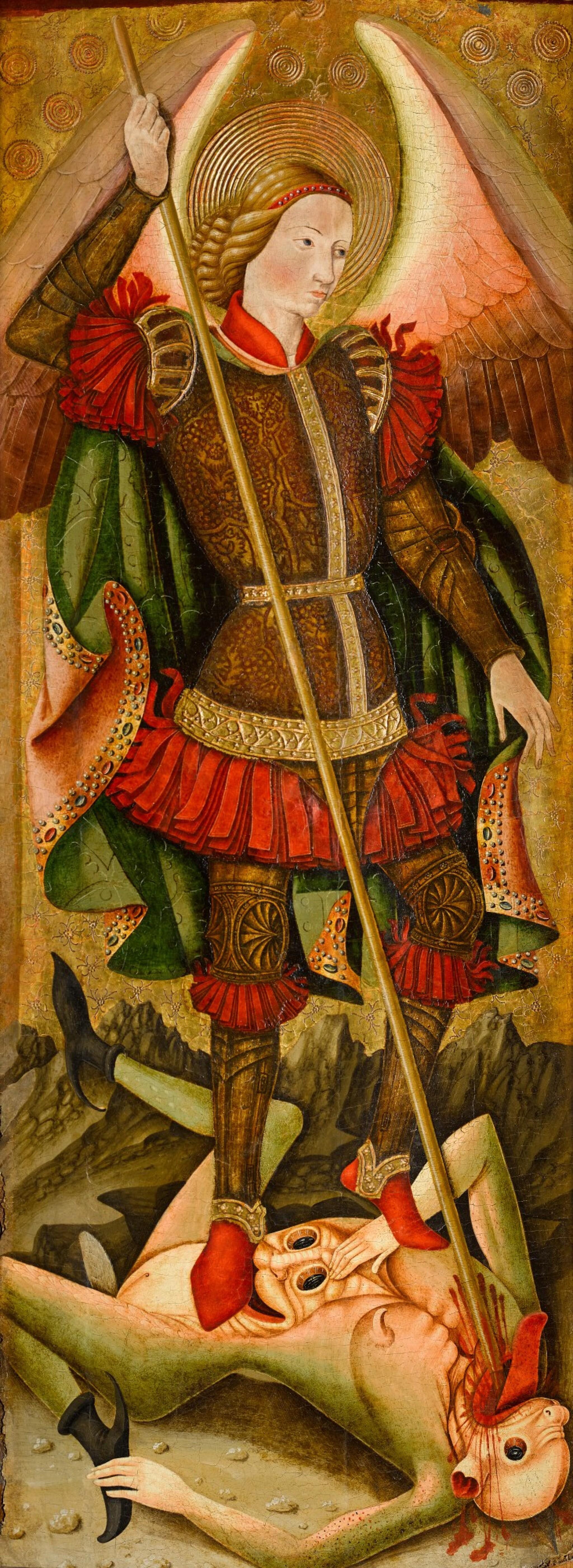 View full screen - View 1 of Lot 25. MAESTRO DE LOS FLORIDA (JUAN DE BONILLA? DOC. 1442–78) |  SAINT MICHAEL VANQUISHING THE DEVIL   .